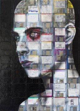 Oil paint & used computer disks on wood | 75x54cm | 2012