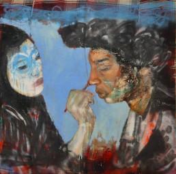 Oil and spray paint on djadjim/kilim | 160x160cm | 2016